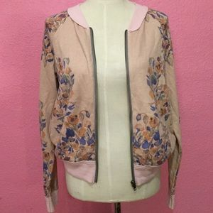 Free People dusty pink floral bomber jacket